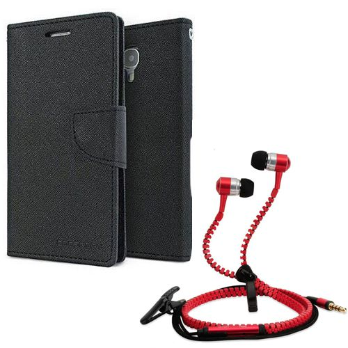 Aart Wallet Flip Case Back Cover For Sony Xperia E3-(Black) + Zipper Hands free for all Mobiles By Aart store