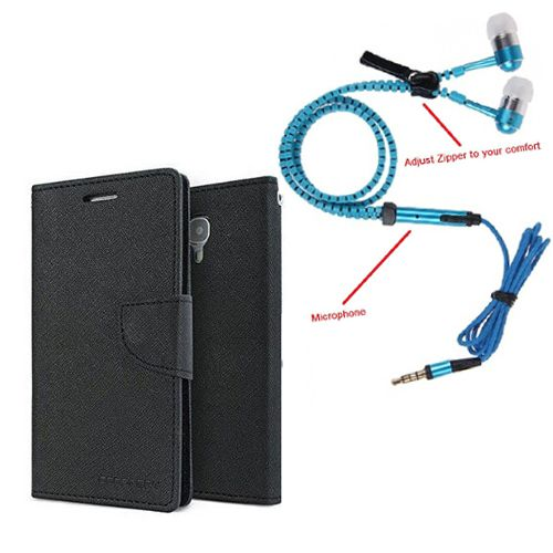 Aart Wallet Flip Case Back Cover For Sony Xperia C4-(Black) + Zipper Hands free for all Mobiles By Aart store