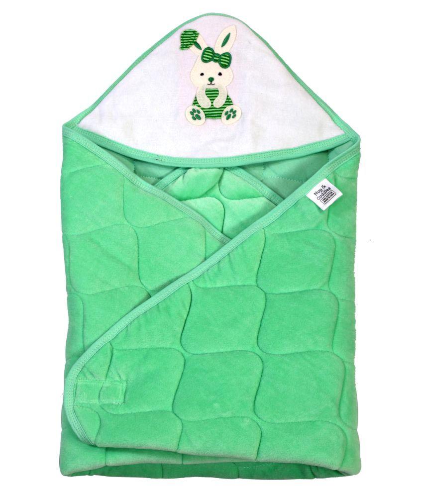Brim Hugs & Cuddles Green Cotton Baby Wrap Baby Blanket/Baby Swaddle/Baby Sleeping Bag