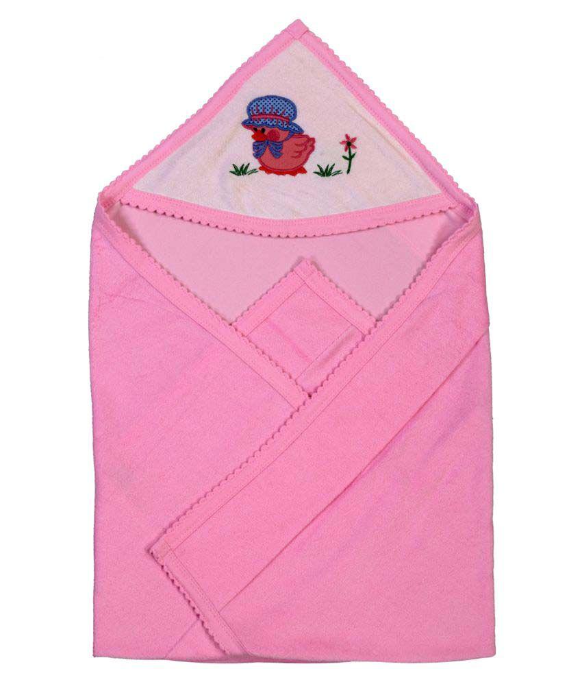 Brim Hugs & Cuddles Pink Baby Wrapper Baby Blanket/Baby Swaddle/Baby Sleeping Bag