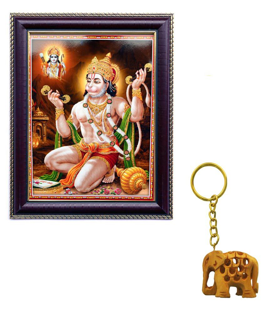 Janki Religious God Hanuman Ji Wood Art Prints With Frame 2 combination