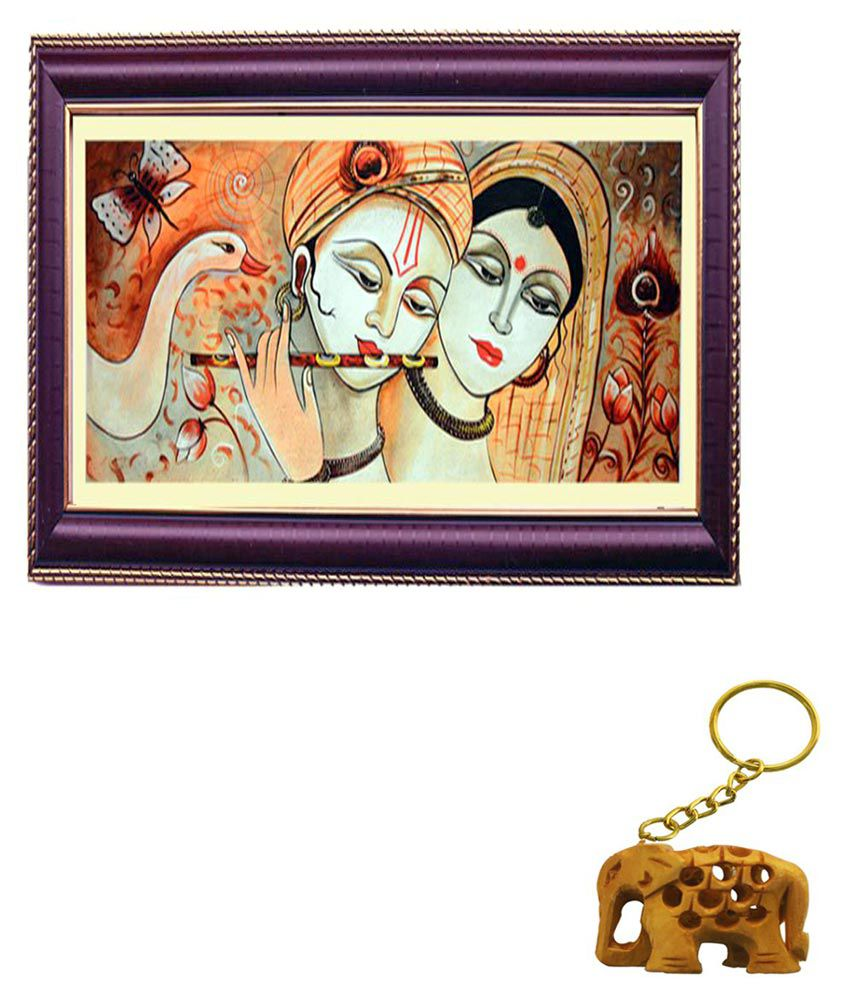 Janki Religious God Radha Krishna Wood Art Prints With Frame 2 combination