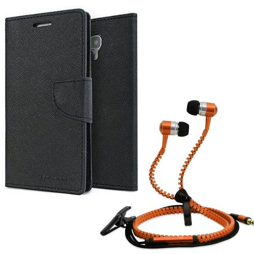 Wallet Flip Case Back Cover For micromax A120-(Black) + Zipper Hands free for all Mobiles By StyleCrome store
