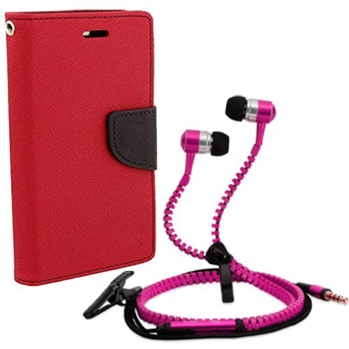 Wallet Flip Case Back Cover For Nokia 720-(Red) + Zipper Hands free for all Mobiles By StyleCrome store