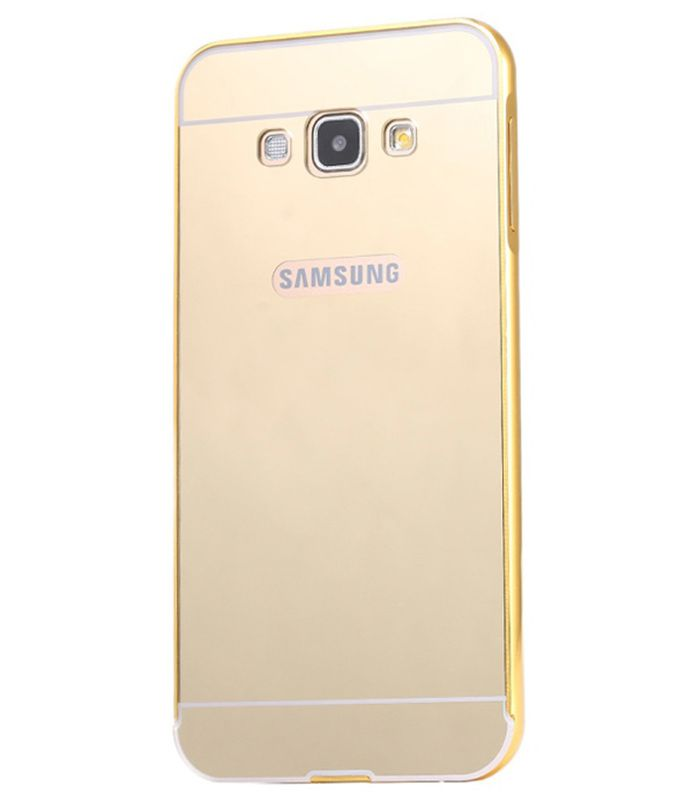 Style Crome Metal Bumper + Acrylic Mirror Back Cover Case For Samsung S3 Gold + Flexible Portable Thumb OK Stand
