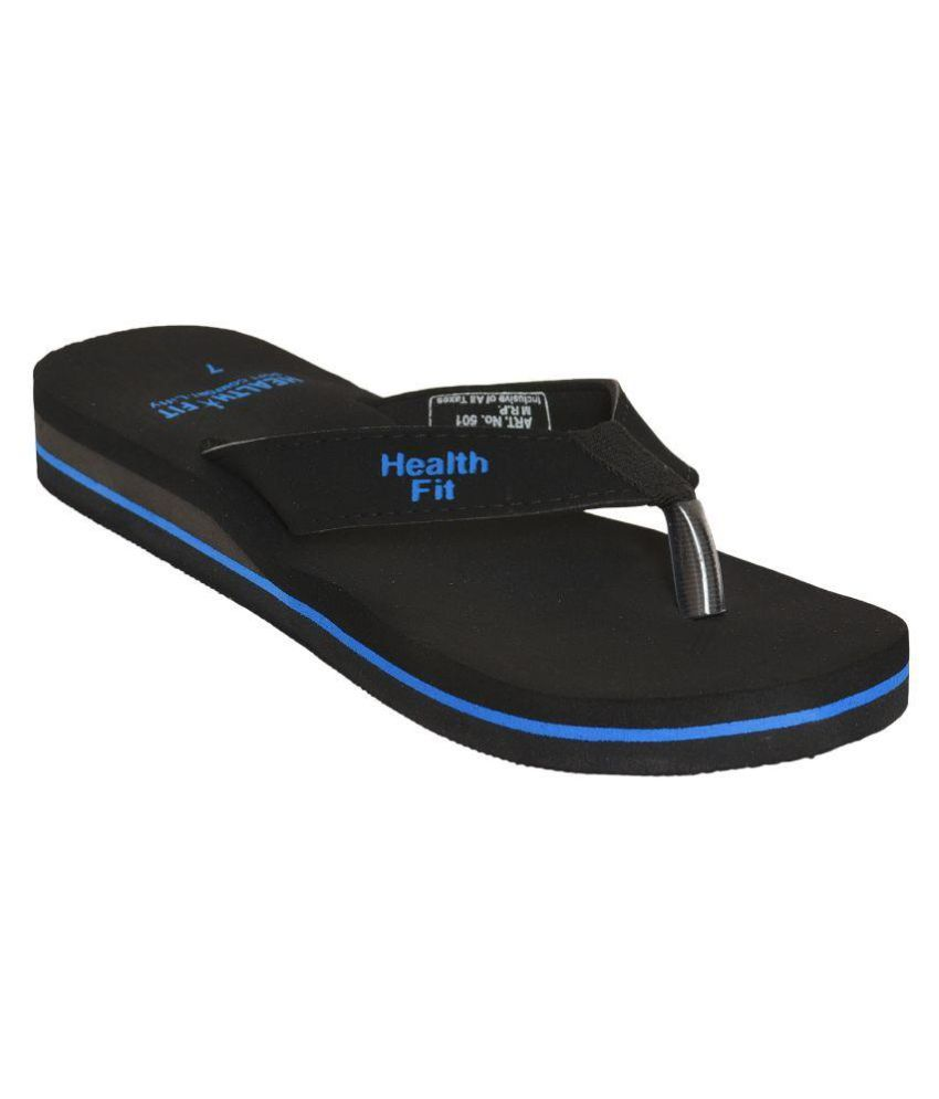 Health Fit Black Slippers