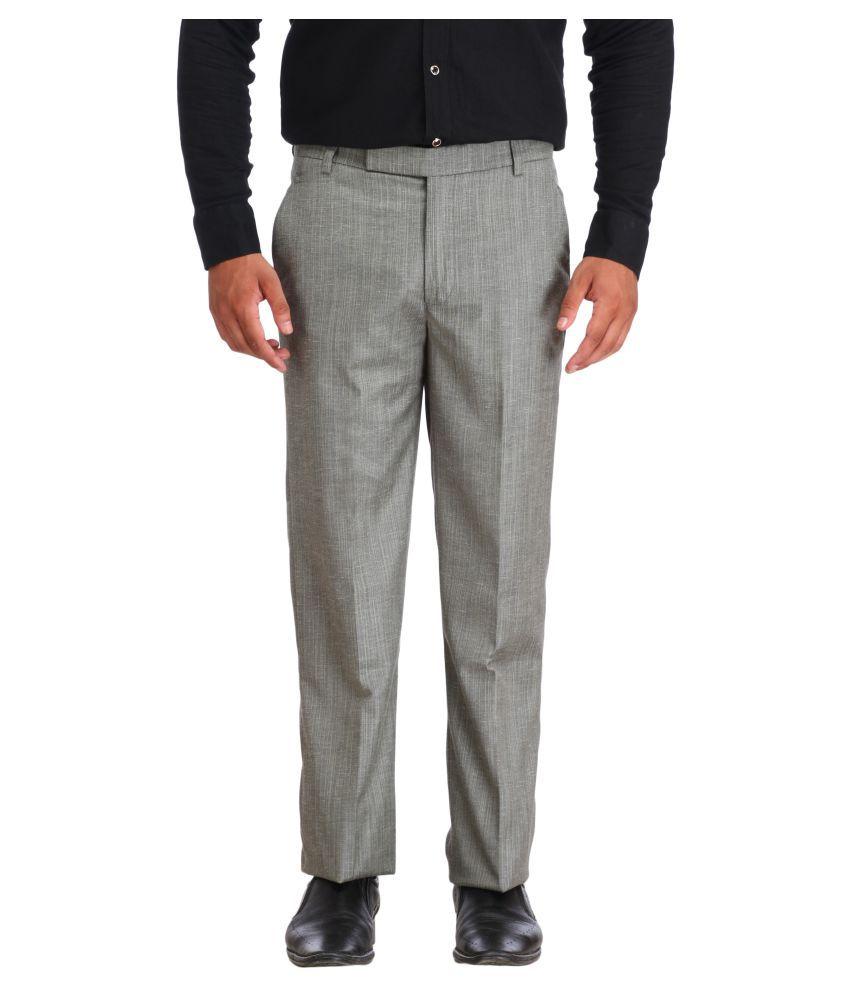 Snoby Grey Regular Flat Trouser