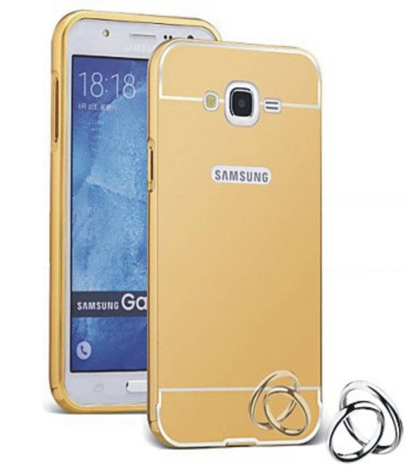 Aart Luxury Metal Bumper + Acrylic Mirror Back Cover Case For Samsung E7 Gold + Flexible Portable Thumb OK Stand