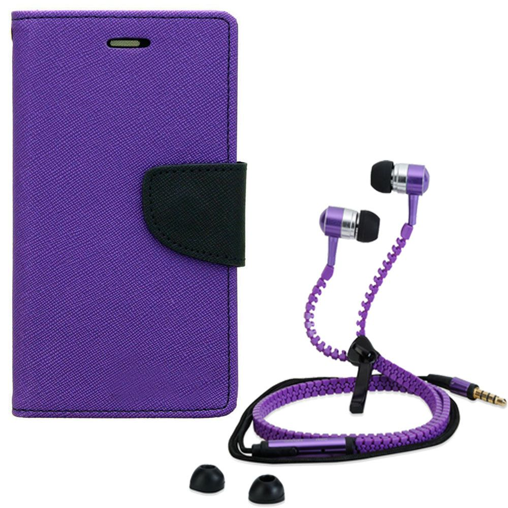 Wallet Flip Case Back Cover For Sony Xperia Z2-(Purple) + Zipper Hands free for all Mobiles By StyleCrome store