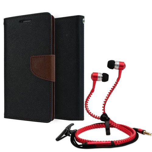 Wallet Flip Case Back Cover For micromax A310-(Black brown) + Zipper Hands free for all Mobiles By StyleCrome store