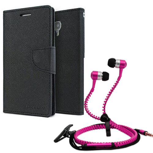 Wallet Flip Case Back Cover For Samsung 9300-(Black) + Zipper Hands free for all Mobiles By StyleCrome store