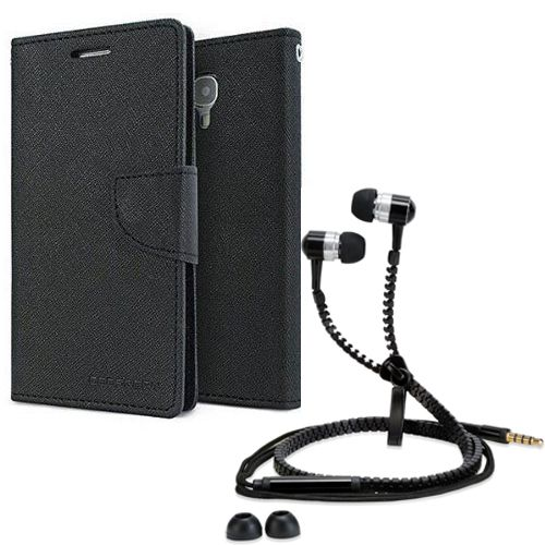 Wallet Flip Case Back Cover For Sony Xperia E3-(Black) + Zipper Hands free for all Mobiles By StyleCrome store