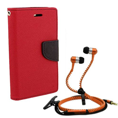 Wallet Flip Case Back Cover For Samsung A3-(Red) + Zipper Hands free for all Mobiles By StyleCrome store