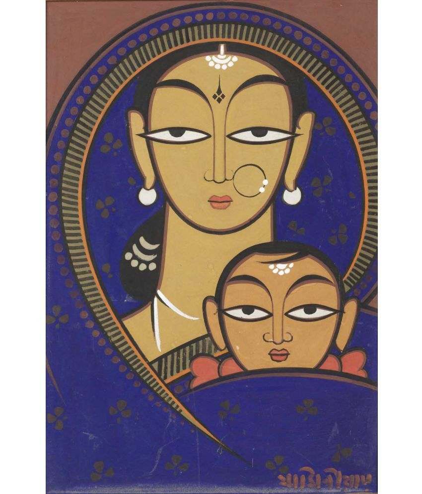 Tallenge Jamini Roy - 2 Canvas Art Prints Without Frame Single Piece