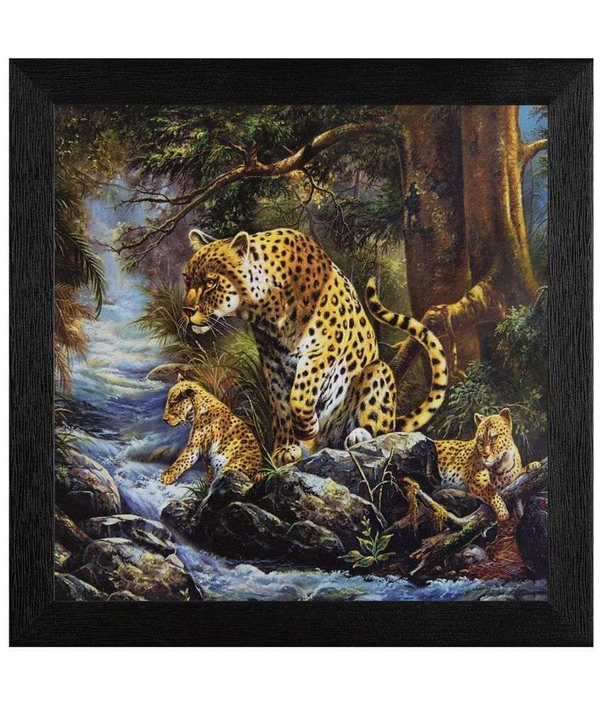 JAF Leopard, Black framed painting Wood Art Prints With Frame Single Piece