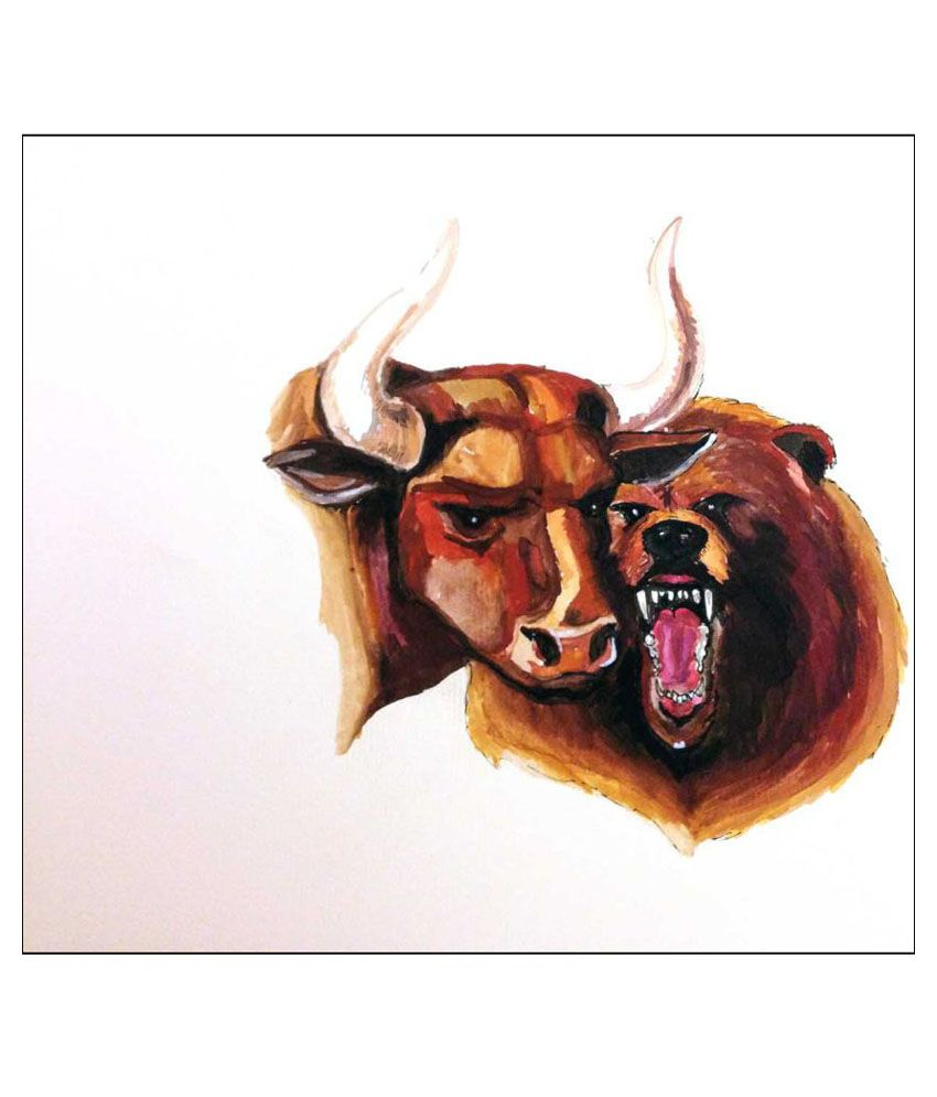 Tallenge Bull Bear At Stock Market Canvas Art Prints Without Frame Single Piece