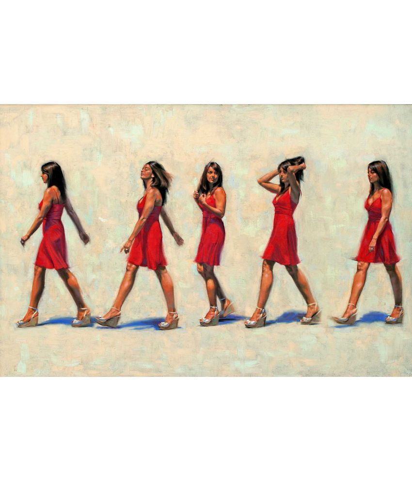 Tallenge Contemporary Art - That Girl In The Red Dress - A Study Canvas Art Prints Without Frame Single Piece
