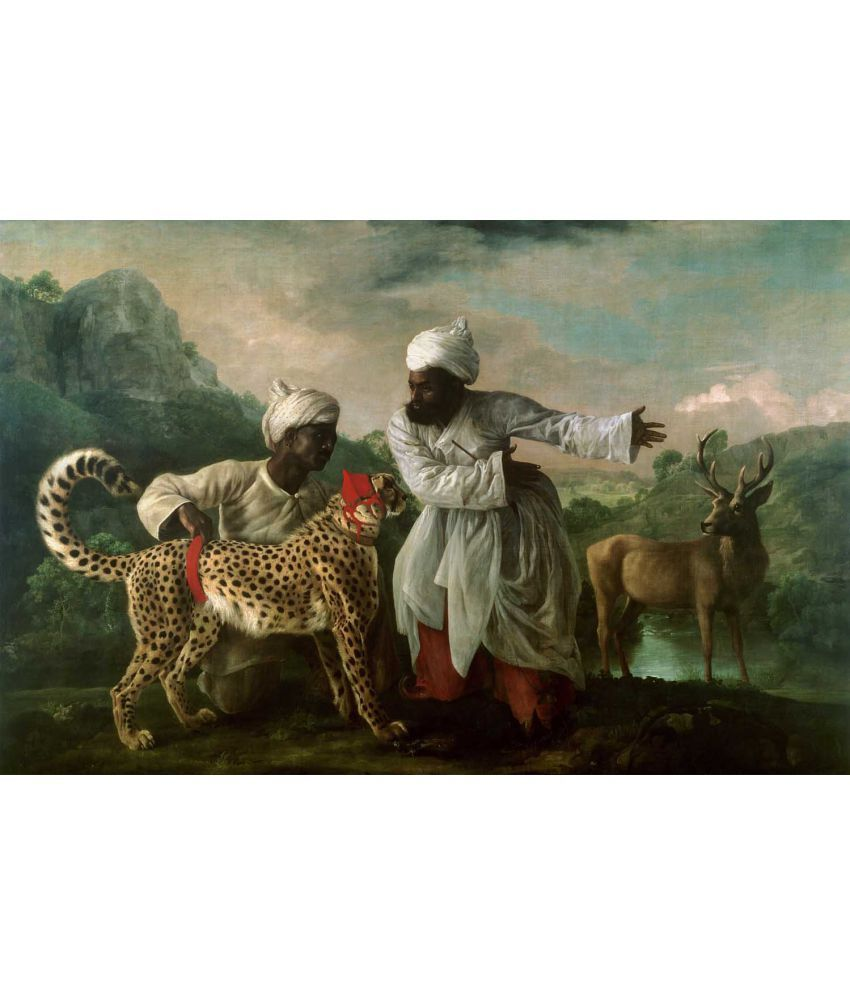 Tallenge George Stubbs - A Cheetah and Stag with Two Indian Attendants 1765 Canvas Art Prints Without Frame Single Piece