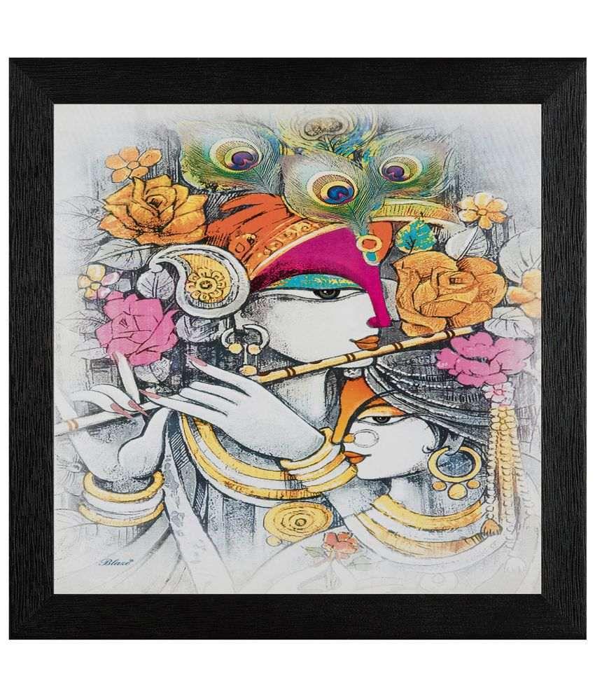 JAF Radha Krishna Wood Art Prints With Frame Single Piece