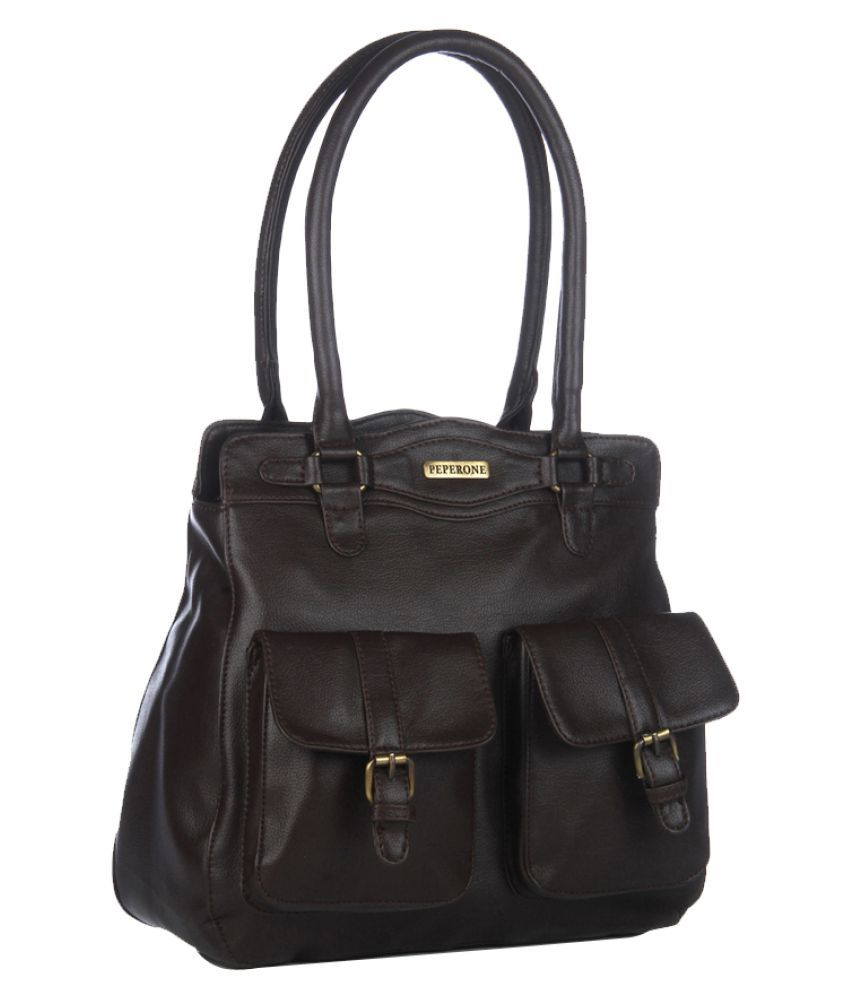 Peperone Brown Faux Leather Shoulder Bag