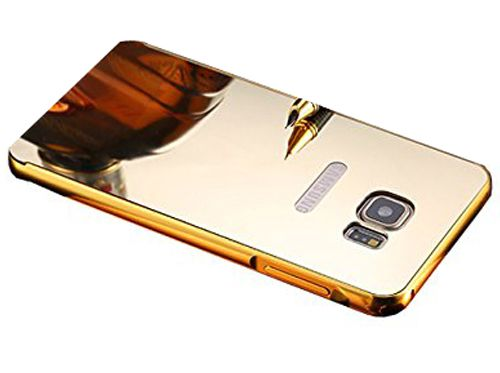 Style Crome Metal Bumper + Acrylic Mirror Back Cover Case For SamsungNote5  Gold + Flexible Portable Thumb OK Stand