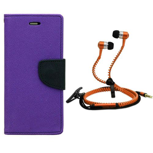 Wallet Flip Case Back Cover For Sony Xperia T2 Ultra-(Purple) + Zipper Hands free for all Mobiles By StyleCrome store