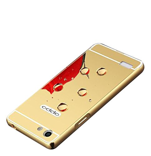 Style Crome Metal Bumper + Acrylic Mirror Back Cover Case For OppoNeo7  Gold + Flexible Portable Thumb OK Stand
