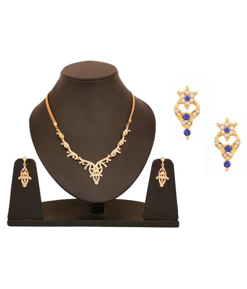 Touchstone Combo of Golden Necklace Set with Earrings