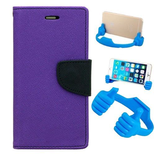 Wallet Flip Case Back Cover For Redmi note 3-(Purple) + Flexible Portable Thumb Ok Stand Holder By Style Crome store