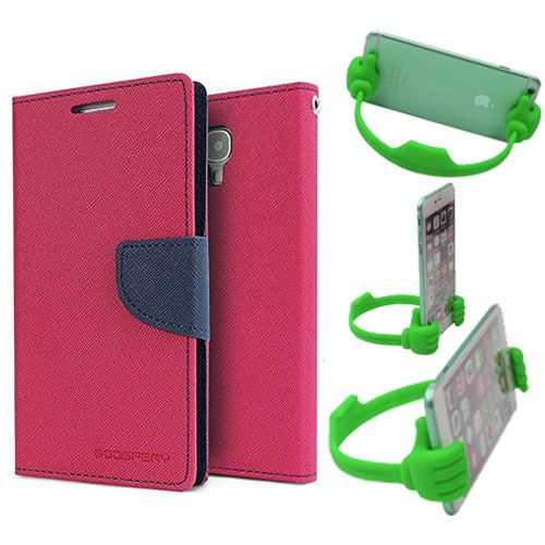 Wallet Flip Case Back Cover For HTC620-(Pink) + Flexible Portable Thumb Ok Stand Holder By Style Crome store