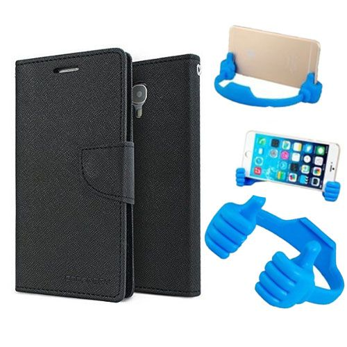 Wallet Flip Case Back Cover For Motorola Moto Xplay -(Black) + Flexible Portable Thumb Ok Stand Holder By Style Crome store