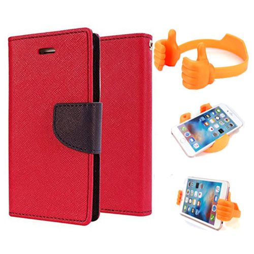 Wallet Flip Case Back Cover For Lenovo K4 note-(Red) + Flexible Portable Thumb Ok Stand Holder By Style Crome store