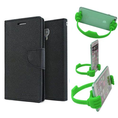 Wallet Flip Case Back Cover For Nokia 520-(Black) + Flexible Portable Thumb Ok Stand Holder By Style Crome store