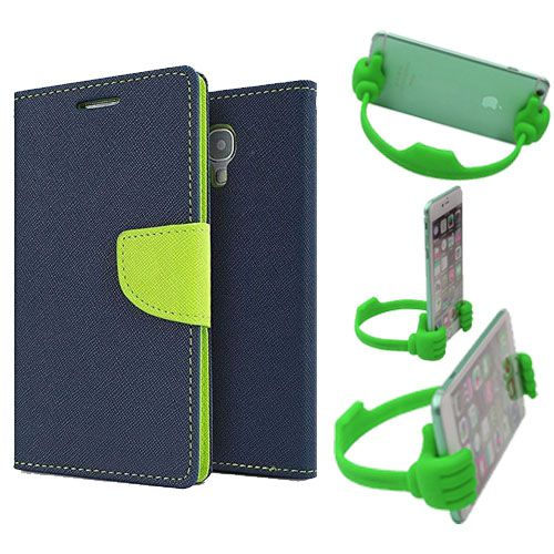 Wallet Flip Case Back Cover For Sony Xperia E3-(Blue) + Flexible Portable Thumb Ok Stand Holder By Style Crome store