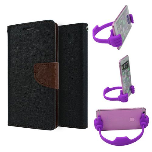Wallet Flip Case Back Cover For Nexus 4-(Blackbrown) + Flexible Portable Thumb Ok Stand Holder By Style Crome store
