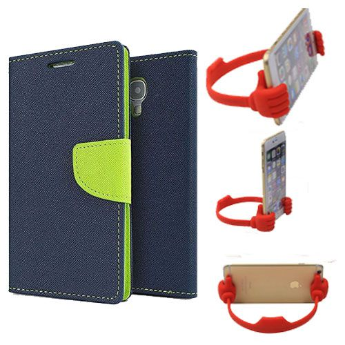 Wallet Flip Case Back Cover For Samsung Note 3-(Blue) + Flexible Portable Thumb Ok Stand Holder By Style Crome store