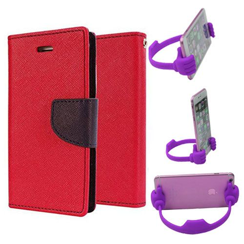 Wallet Flip Case Back Cover For Samsung J7-(Red) + Flexible Portable Thumb Ok Stand Holder By Style Crome store