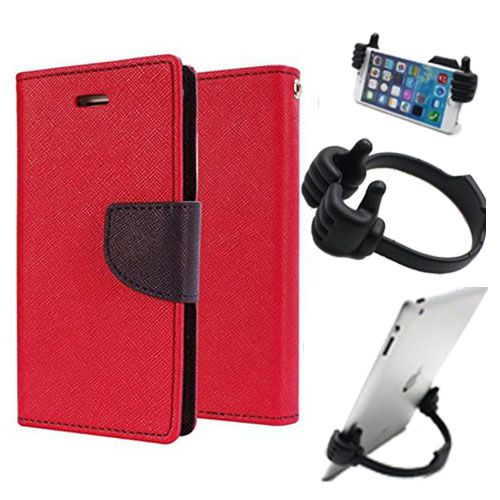 Wallet Flip Case Back Cover For Samsung ON5-(Red) + Flexible Portable Thumb Ok Stand Holder By Style Crome store