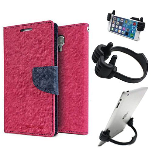 Wallet Flip Case Back Cover For Samsung J2-(Pink) + Flexible Portable Thumb Ok Stand Holder By Style Crome store