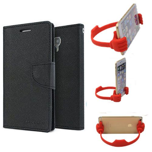 Wallet Flip Case Back Cover For HTC820 -(Black) + Flexible Portable Thumb Ok Stand Holder By Style Crome store