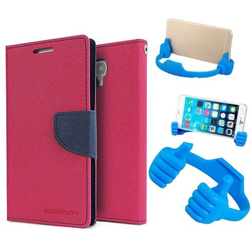 Wallet Flip Case Back Cover For Lenovo K4 note-(Pink) + Flexible Portable Thumb Ok Stand Holder By Style Crome store