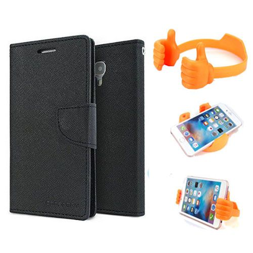 Wallet Flip Case Back Cover For Redmi MI4 -(Black) + Flexible Portable Thumb Ok Stand Holder By Style Crome store