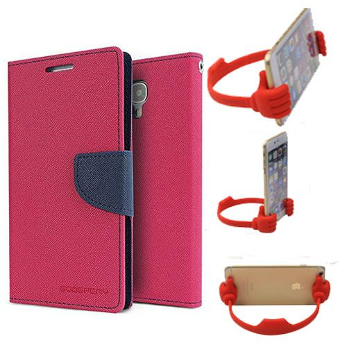 Wallet Flip Case Back Cover For LG G4-(Pink) + Flexible Portable Thumb Ok Stand Holder By Style Crome store
