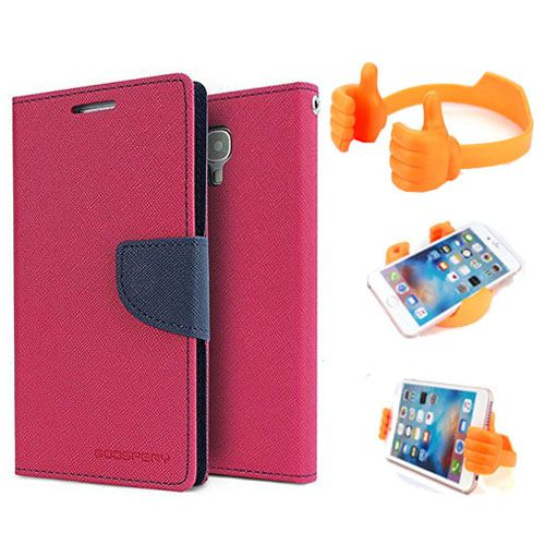 Wallet Flip Case Back Cover For Sony Xperia M2-(Pink) + Flexible Portable Thumb Ok Stand Holder By Style Crome store