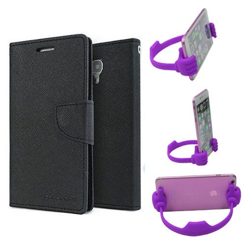 Wallet Flip Case Back Cover For Micromax A210 -(Black) + Flexible Portable Thumb Ok Stand Holder By Style Crome store