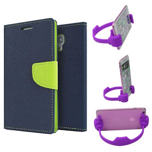 Wallet Flip Case Back Cover For Samsung 7562-(Blue) + Flexible Portable Thumb Ok Stand Holder By Style Crome store