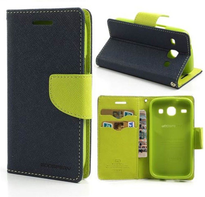 Wallet Flip Case Back Cover For Micromax A116-(Blue) + Flexible Portable Thumb Ok Stand Holder By Style Crome store