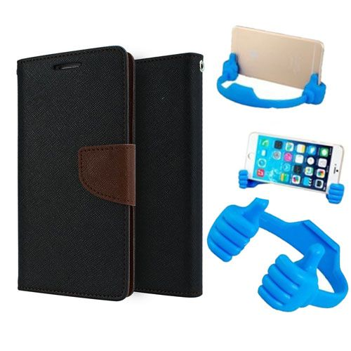 Wallet Flip Case Back Cover For Micromax A310-(Blackbrown) + Flexible Portable Thumb Ok Stand Holder By Style Crome store