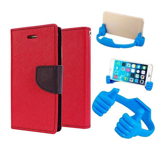 Wallet Flip Case Back Cover For Lenovo A6000-(Red) + Flexible Portable Thumb Ok Stand Holder By Style Crome store