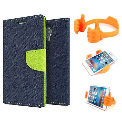 Wallet Flip Case Back Cover For Micromax A310-(Blue) + Flexible Portable Thumb Ok Stand Holder By Style Crome store